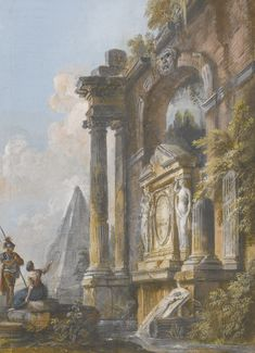 JEAN-BAPTISTE LALLEMAND (DIJON 1716 - 1803 (?) PARIS) A PAIR OF ROMAN CAPRICCIOS WITH ANCIENT RUINS:   A VIEW OF THE PYRAMID OF CAIUS CESTIUS AND ANCIENT RUINS WITH A SOLDIER AND YOUNG LADY IN THE FOREGROUND Gouache; signed in the centre of the architectural oval motif: Lallem / f 28,3 x 20,1 cm