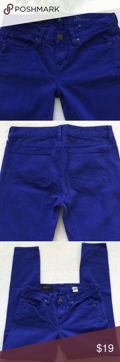 "J. Crew Garment Dyed Toothpick Jeans Toothpick 26 Ankle jeans. 7 1/4"" rise. 27 1/2"" inseam. Color is purple/blue. J. Crew Jeans Skinny"