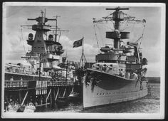 5.9 in light cruiser Koln pictured pre-war alongside 11 in pocket battleship Admiral Scheer ('panzerschiffe' / armoured ship or the Germans; later re-classified as a heavy cruiser).  Both ships survived almost till the end of WW2 until their 1945 destruction by allied air attack in Wilhelmshaven and Kiel respectively.