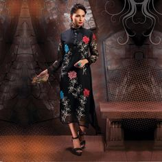 Buy Black Party Wear Embroidered Stitched Kurti for womens online India, Best Prices, Reviews - Peachmode