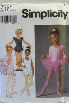 Items similar to Simplicity 7351 Sewing Pattern Child's Ballet Leotard, Tutu, Bag, Hair Accessories on Etsy Childrens Sewing Patterns, Simplicity Sewing Patterns, Vintage Sewing Patterns, Clothing Patterns, Sewing Ideas, Girls Ballet Leotard, Girls Leotards, Dance Ballet, Girls Dance Dresses