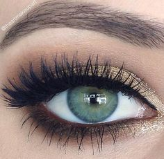 Green Eyes + Gold Makeup