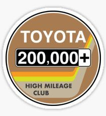 'Toyota High Mileage Club - Miles' Sticker by brainthought Toyota, Cart, Stickers, Retro, Covered Wagon, Retro Illustration, Decals, Strollers
