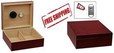 Chalet Cherry Desktop Humidor - Humidifier - Hygrometer With Free V Cigar Cutter