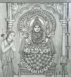 Mysore Painting, Kalamkari Painting, Kerala Mural Painting, Indian Art Paintings, Madhubani Painting, Mandala Drawing, Mandala Painting, Mandala Art Therapy, Zentangle