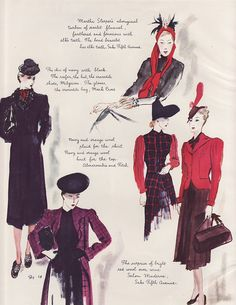 Vintage Ad Harpers Bazaar Fashion Sketchbook of American Color 1938 4pg (Image1)