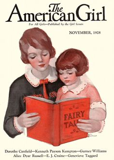 The American Girl magazine, November 1928. Reading fairy tales together!