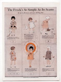 Vintage Color Fashion Page 1923 Girls' Dresses Smocks CUT IT ALL IN ONE WHC Deco | eBay