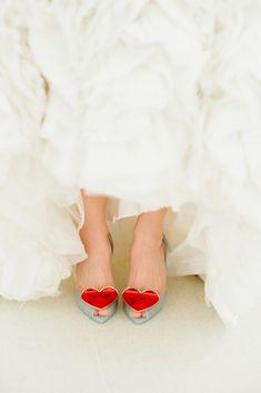 Vivienne Westwood heart wedding shoes // photo by Dixie Pixel    #wedding #weddingphotographer #bride #weddingshoes #love #weddingdetails #newlyengaged #shoegasmic #heart #cool #love