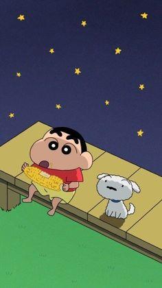 Shinchan and his dog Shiro . Sinchan Wallpaper, Cute Emoji Wallpaper, Cartoon Wallpaper Iphone, Cute Cartoon Wallpapers, Disney Wallpaper, Wallpaper Awesome, Friends Wallpaper, Sinchan Cartoon, Cartoon Shows