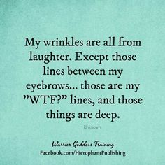 """Humor: Wrinkles are from laughter except the pair between my brows are """"wtf?"""" lines"""