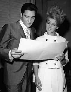 """Elvis Presley and Ann-Margret in (1964) in a publicity photo for their upcoming film """"Viva Las Vegas""""."""