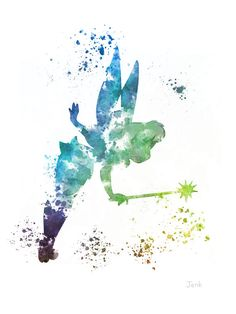 Tinker Bell Fairy, Peter-Pan-ART-PRINT Illustration, Disney, Mischtechnik, Home Decor, Kindergarten, Kind