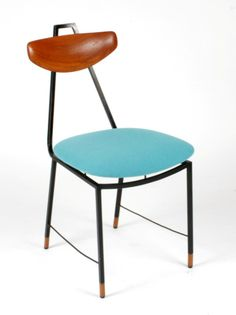 Anonymous; Enameled Metal and Oak Side Chair, 1950s.