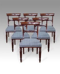 Antique Dining Chairs   Set Of Six Regency Mahogany Dining Chairs. Figured  Head Rails Over