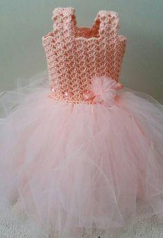 Crochet/Tulle baby dress by DeesCrochetEnvy on Etsy