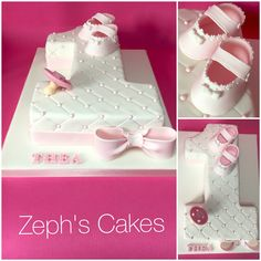 Number one cake for a little baby girls first birthday. Hand made baby shoes and a hand made dummy and bow- all edible.