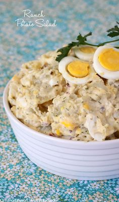 Mom's Ranch Potato Salad Ingredients:   1 + 1/2 pounds russet, Yukon Gold or red potatoes    7 large eggs    salt and fresh black pepper    1/2 cup Original Hidden Valley Ranch Dressing    2/3 cup mayonnaise    1 tablespoon Dijon mustard     2 teaspoons white vinegar     1 teaspoon Worcestershire sauce     1 teaspoon dried dill weed     1/3 cup diced red onion     1/3 cup diced Spanish green olive with pimentos or dill pickle     paprika, for sprinkling over top