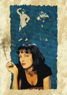 Pulp Fiction - Uma Thurman as Mia Wallace in this stylised pulpy artwork #GangsterMovie #GangsterFlick