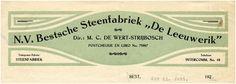 N.V. Bestsche Steenfabriek De Leeuwerik. Directeur: M.C. de Wert-Strijbosch