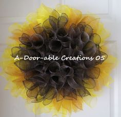 WHIMSICAL FALL SUNFLOWER Mesh Wreath by ADoorableCreations05, $35.00