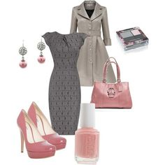 Gray and pink outfit for a special occasion.