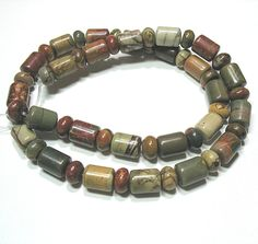 """Red Creek Picasso Jasper 8x10 Tube 5x8mm Rondelle Mix Shape Beads 16"""" Strand #Temporary"""