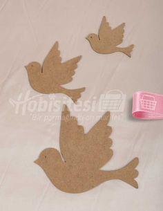 Ahşap Kuşların Göçü - 3 Adet Kuş - 19 x 17 / 13 x 11 / 10 x 9 cm | Kapı ve Duvar Süsleri | Tuhafiye, Elişi ve Hobi Malzemeleri