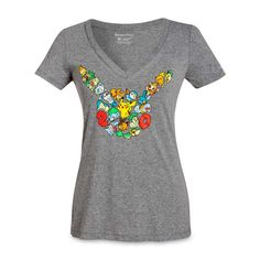 Official Pokémon 20th Fitted V-Neck T-Shirt.  Exclusive full-color design is a…