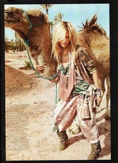 Desert fashion tassels patterns prints silk gathered camel