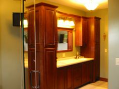 Image detail for -... Built-in Master Bathroom Vanity with Linen Cabinets and Mirror Valance