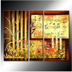 A Touching Piece of Music Oil Painting - Set of 3 - Free Shipping