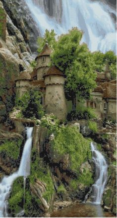 Polands Waterfall Castle Cross Stitch by WildStitchDesigns, $5.00
