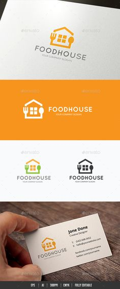 Food House Logo Design Template Vector #logotype Download it here: http://graphicriver.net/item/food-house/14262013?s_rank=1424?ref=nexion