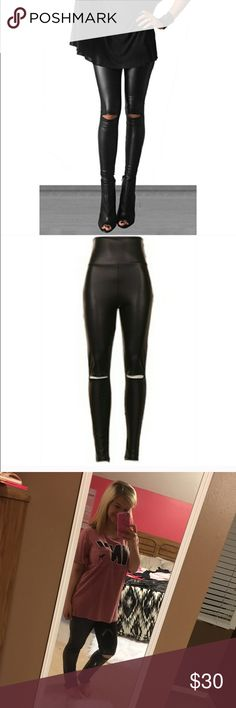 Cutout Knee Faux leather leggings Cutout Knee Faux leather leggings. 92% Polyester. 8% Spandex. Available in sizes S-L. I'd recommend going a size up though. fashionomics Pants Leggings