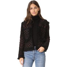 M Missoni Lurex Boucle Jacket ($800) ❤ liked on Polyvore featuring outerwear, jackets, black, sparkly jacket, fringe jacket, long sleeve jacket, m missoni and boucle jacket
