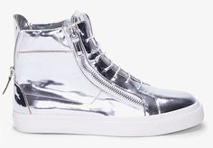 Giuseppe Zanotti Mirror Metallic Silver Zip Sneakers