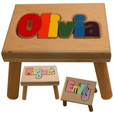Maple puzzle name stool stools learning tower and babies personalized name puzzle stool maple personalized baby giftsstep negle Gallery