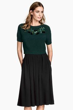 Camisola com bordado de contas | H&M