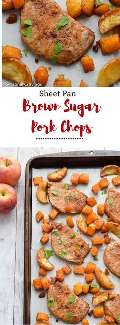 These Sheet Pan Brown Sugar Pork Chops will become a weeknight. These Sheet Pan Brown Sugar Pork Chops will become a weeknight fall favorite for parents and kids alike. Easy to prepare and clean up with only one pan! Easy Healthy Dinners, Healthy Foods To Eat, Healthy Dinner Recipes, Weeknight Dinners, Eating Healthy, Non Dairy Dinner, Paleo Dinner, Dairy Free Recipes For Kids, Gluten Free Recipes