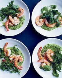 Pan-Fried Shrimp with Lemony Pea Pesto | This best-ever shrimp and lemony pea pesto has just four easy steps.