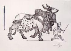 Indian Artwork, Indian Folk Art, Indian Art Paintings, Art Drawings Sketches Simple, Pen Drawings, Kalamkari Painting, India Art, Pen Art, Mandala Art