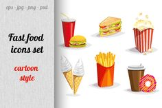 Fast food icons set by mary_shop on @creativemarket