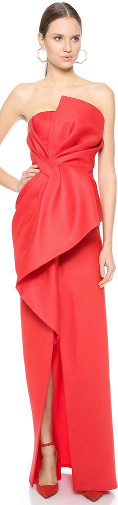 J. Mendel Strapless Asymmetrical Peplum Gown