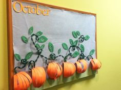 Make one large pumpkin This was my October bulletin board. The leaves have the names of people with birthdays in the month of October. October Bulletin Boards, Preschool Bulletin Boards, Bulletin Board Display, Classroom Bulletin Boards, Classroom Themes, Fall Bulliten Boards, Fall Classroom Door, Thanksgiving Bulletin Boards, Halloween Bulletin Boards