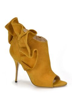 Alberto Moretti Yellow Mustard Suede High Heel Ankle Boots Fall 2014 #Shoes #Heels #Booties