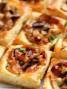 These are good but pretty big as the recipe is but cut the squares smaller for party appetizers: Caramelized Onion, Mushroom, Apple & Gruyere Bites - Table for Two Finger Food Appetizers, Appetizers For Party, Appetizer Recipes, Appetizer List, Healthy Appetizers, Dinner Recipes, Fingers Food, Thanksgiving Appetizers, Hosting Thanksgiving