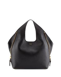 Tom Ford - Jennifer Side-Zip Leather Hobo Bag