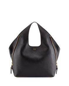 Tom Ford - Jennifer Side-Zip Leather Hobo Bag