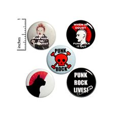 "Punk Rock Buttons or Fridge Magnets // Backpack Pins // Punk Lives // Mohawks // Punk Rock For Breakfast // Magnets // 5 Pack Set 1"" #P4-3 God Save The Queen, Punk Rock Fashion, Lolita Fashion, Fashion Boots, Backpack For Teens, Teen Backpack, Emo Dresses, Party Dresses, Fashion Dresses"
